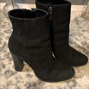 Schutz Black Ankle High Suede Heeled Boots